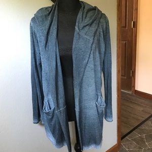 JOHNNY WAS Blue/Gray open front draped cardigan